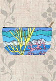 Coral Island Accessories Pouches feature an underwater ocean scene with colorful coral on a zipper bag.  For sale at Raspberry Lane Crafts.