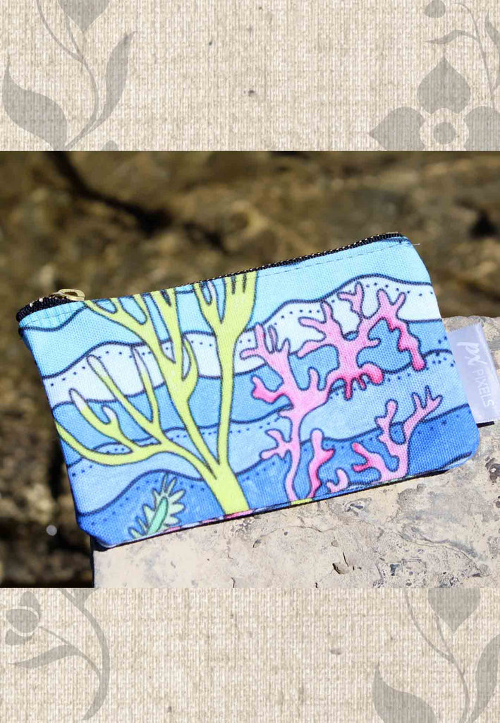 Aqua Blue Coral Zipper Bag for Sale at Raspberry Lane Crafts