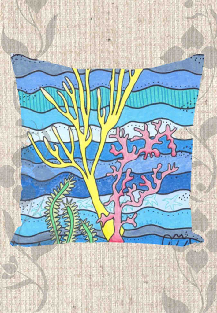 Blue Coral Throw Pillows for Sale