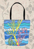 Coral Island Tote Bags feature yellow pink and green coral on aqua blue ocean waves for sale at Raspberry Lane Crafts.