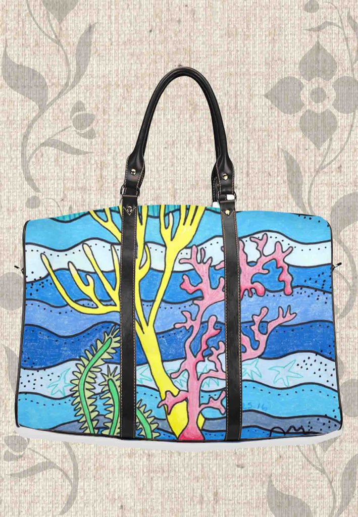Coral Island Travel Bags feature an underwater ocean scene - great for airplane and car travel.  Easy to spot on luggage carts and conveyers!  For Sale at Raspberry Lane Crafts