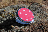 Coral Spotted Purse Mirror Compacts for Sale at Raspberry Lane Crafts