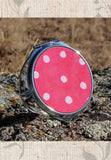 Coral Red with Dots Compact Mirrors for Sale at Raspberry Lane Crafts