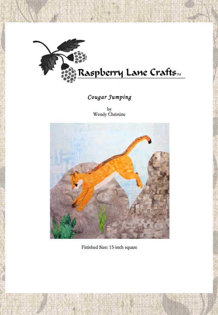 Buy orange cougar puma mountain lion jumping off rocks quilt pattern download from Raspberry Lane Crafts