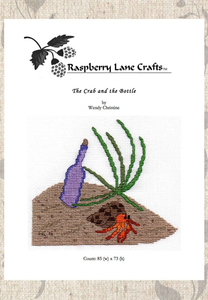 Buy beach cross stitch pattern with beach grass bottle and crab