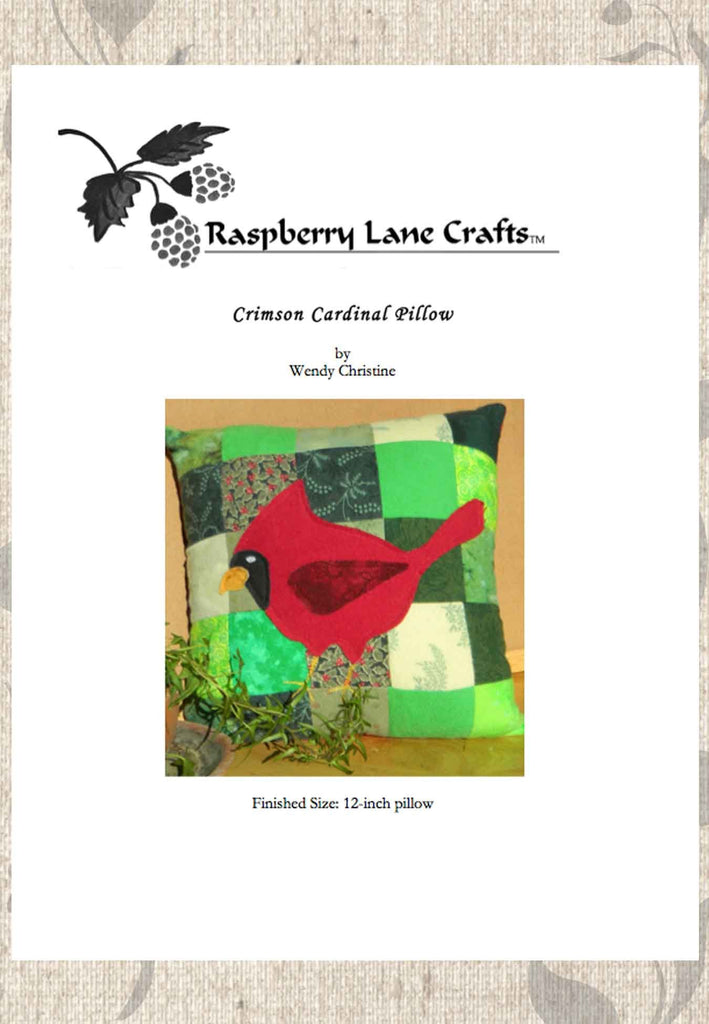 Buy Red Cardinal Pillow Pattern Download for Christmas Holidays at Raspberry Lane Crafts