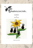Buy late summer sunflower cross stitch pattern download with black crows.  For sale at Raspberry Lane Crafts