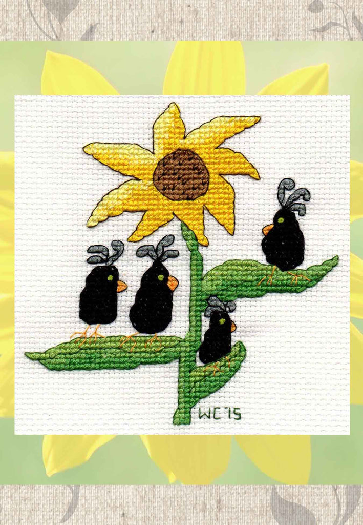 Buy black crows with yellow sunflower cross stitch pattern at Raspberry Lane Crafts.  Find Purchase