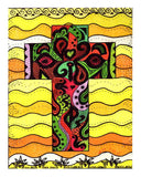 Cruzar Amarillo cross Art Print by Wendy Christine decorated in Southwest colors and shapes with a background of yellow waves by Wendy Christine.
