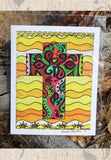 Cruzar Amarillo art print is a yellow print with decorated Southwest cross for sale.  Raspberry Lane Crafts.