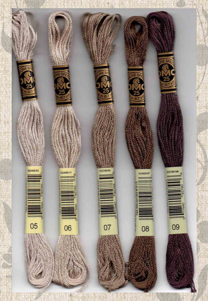 DMC six-stranded embroidery floss 05, 06, 07, 08, 09 browns NEW Colors 2018 for sale