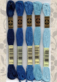 Buy DMC six-stranded embroidery floss - 3750, 3765, 3760, 3766, 3761 Very Dark Antique Blue, Very Dark Peacock Blue, Medium Wedgewood, Light Peacock Blue, Light Sky Blue Find for Sale