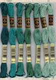 DMC six-stranded embroidery floss 3847, 3812, 3814, 3815, 3816, 3817, 3813 green turquoise