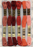 DMC six-stranded embroidery floss 3859, 3858, 3857, 3830, 3883, 3824 corals, browns, mahogany