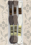 DMC six-stranded embroidery floss 3884, 3895, 3865 Gray Brown White