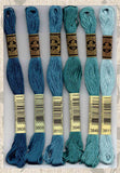 DMC six-stranded embroidery floss 3808, 3809, 3810, 3848, 3849, 3811 Crocodile Greens and Blues