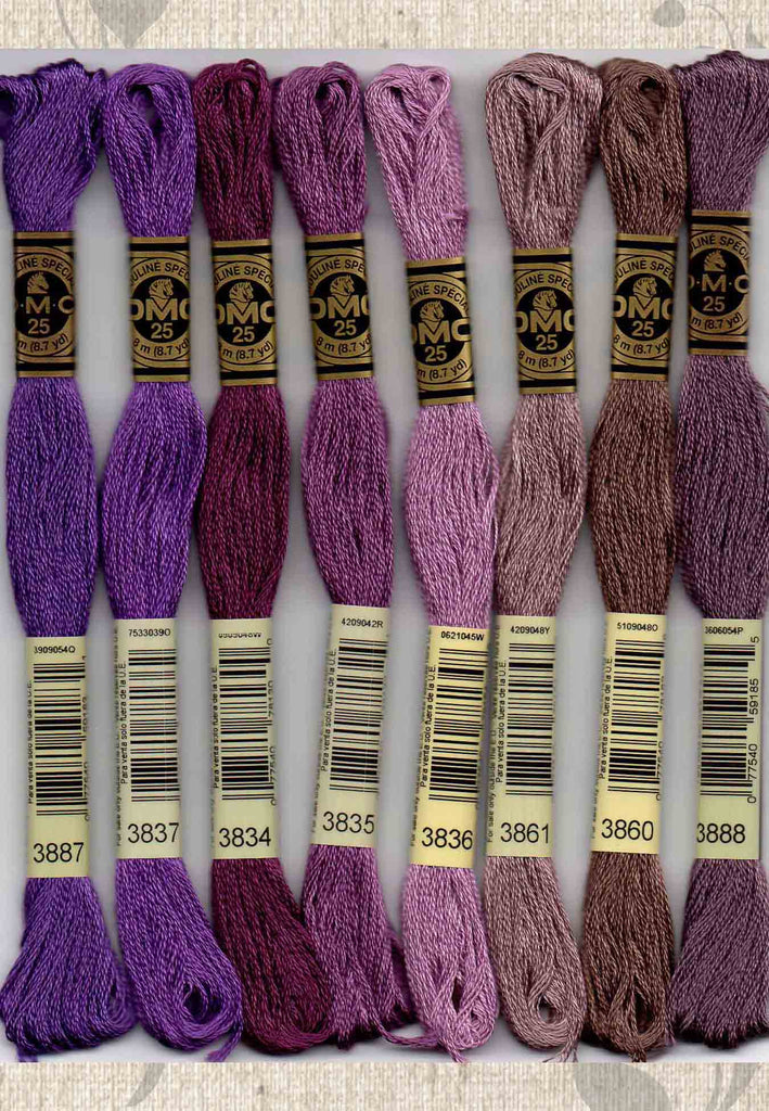 DMC six-stranded embroidery floss 3887, 3837, 3834, 3835, 3836, 3861, 3860, 3888, purples