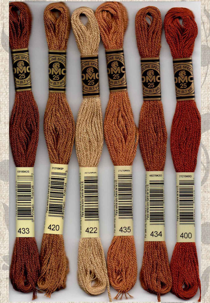Buy DMC six-stranded embroidery floss - 433, 420, 422, 435, 434, 400 Brown colors