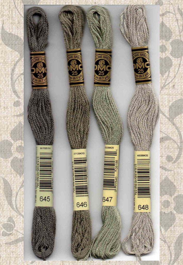 Buy Find DMC six-stranded embroidery floss - 645, 646, 647, 648 grays