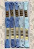 Buy DMC six-stranded embroidery floss 799, 793, 794, 775, 747 Blues