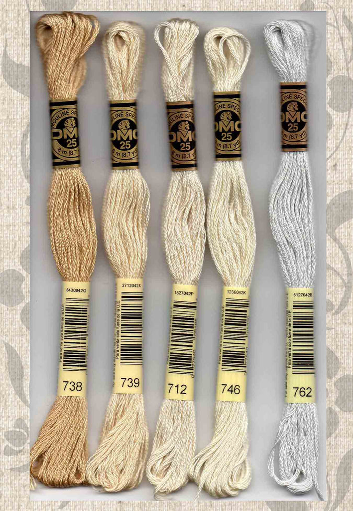 DMC six-stranded embroidery floss 738, 739, 712, 746, 762 Neutrals