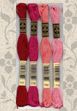 DMC six-stranded embroidery floss 777, 718, 760, 776, Wine Fuchsia Pinks