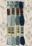 Buy DMC six-stranded embroidery floss 924, 926, 927, 928 Sea Green and Grays and Dark Blue