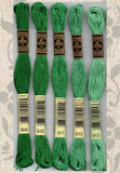 Buy DMC six-stranded embroidery floss 909, 910, 911, 912, 913 Dark, Medium and Light Teal Green