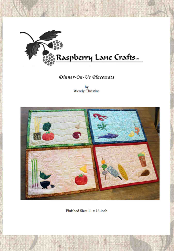 Dinner on us placemats sewing pattern digital download front page features the Raspberry Lane Crafts logo and four different dinner styles in Mexican, Seafood, Italian and BBQ.