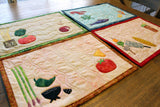 Placemat Pattern of Dinner Themed Food Mexican, Seafood, Italian, and BBQ.  For Sale at Raspberry Lane Crafts.