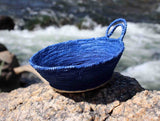 Dark Blue Hand-Crafted Mini Baskets for Home Decorating for Sale