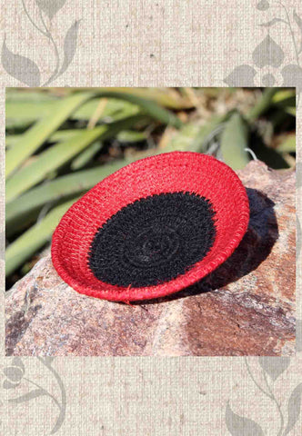 Artisanal Dramatic Red and Black Mini Basket