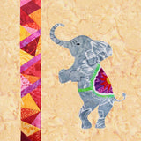 Circus Elephant Quilt Pattern features standing gray elephant with colorful saddle and a red pink and orange paper pieced stripe.  15-inch block for sale