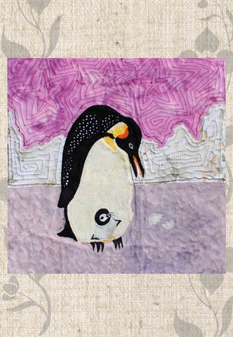 Emperor Penguins Quilt Block Pattern