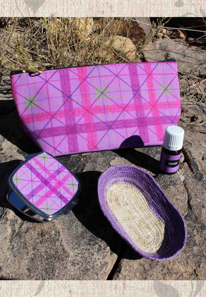 Envision Essential Oil Blend Purple Plaid Zipper Bag Basket and Compact Mirror Gift Set for Sale at Raspberry Lane Crafts