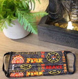 Fire Rescue Fabric Print Face Masks for Sale Hand-Crafted
