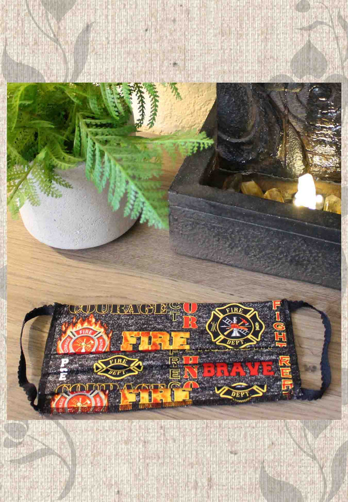 Fire Rescue Print Fabric Face Masks for Sale Black and Orange