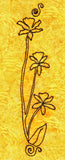 Orchid Trio embroidery design has three orchids on long stems with one leaf and a flourish on top and bottom stitched in brown floss on bright yellow batik fabric.