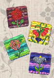 Buy Drink Coasters Art Print Flowers Set of Four - The Art of Wendy Christine's Flowers Coasters.  Find Purchase at Raspberry Lane Crafts