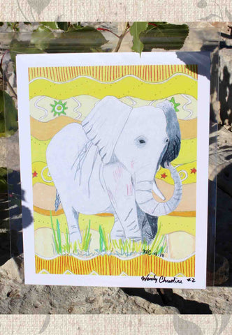 African Elephant Signed Print