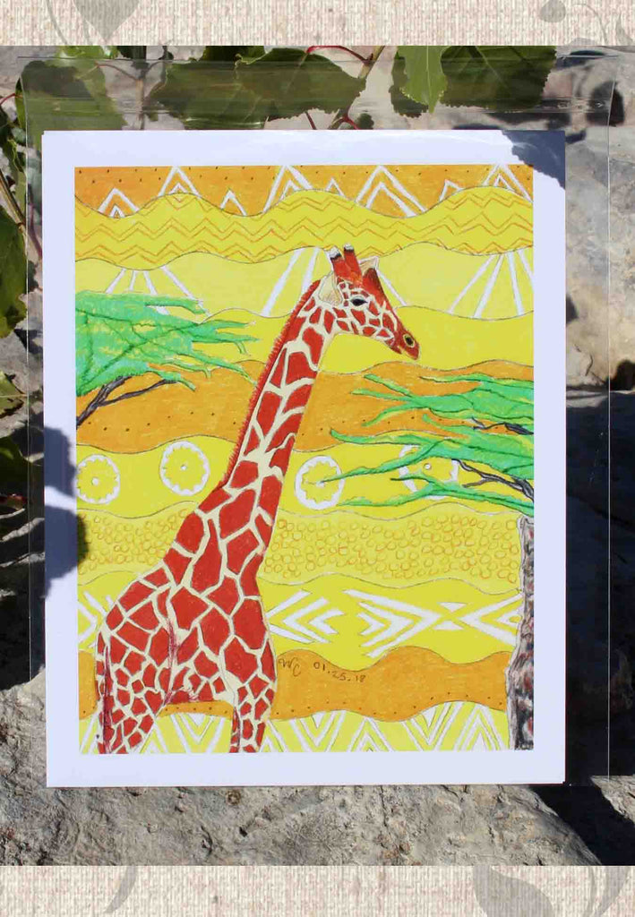 Giraffe Art Print by Wendy Christine for Sale 8 x 10 inches at Raspberry Lane Crafts