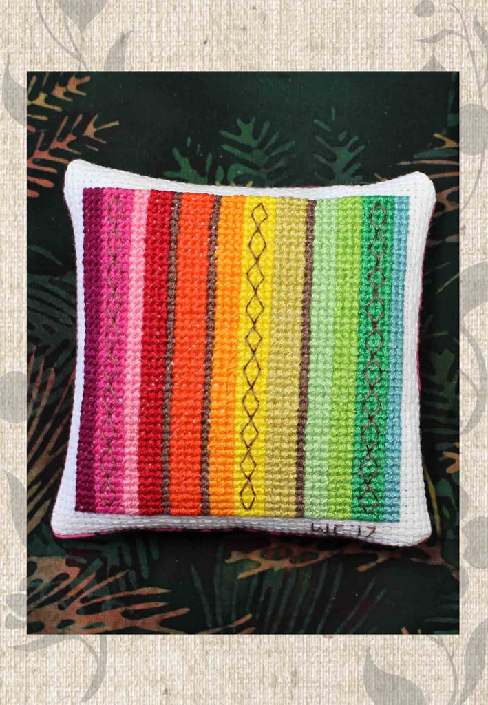 Forest Stripes Colorful Bean Bag or Pin Cushion Cross Stitch Pattern for Sale by Wendy Christine