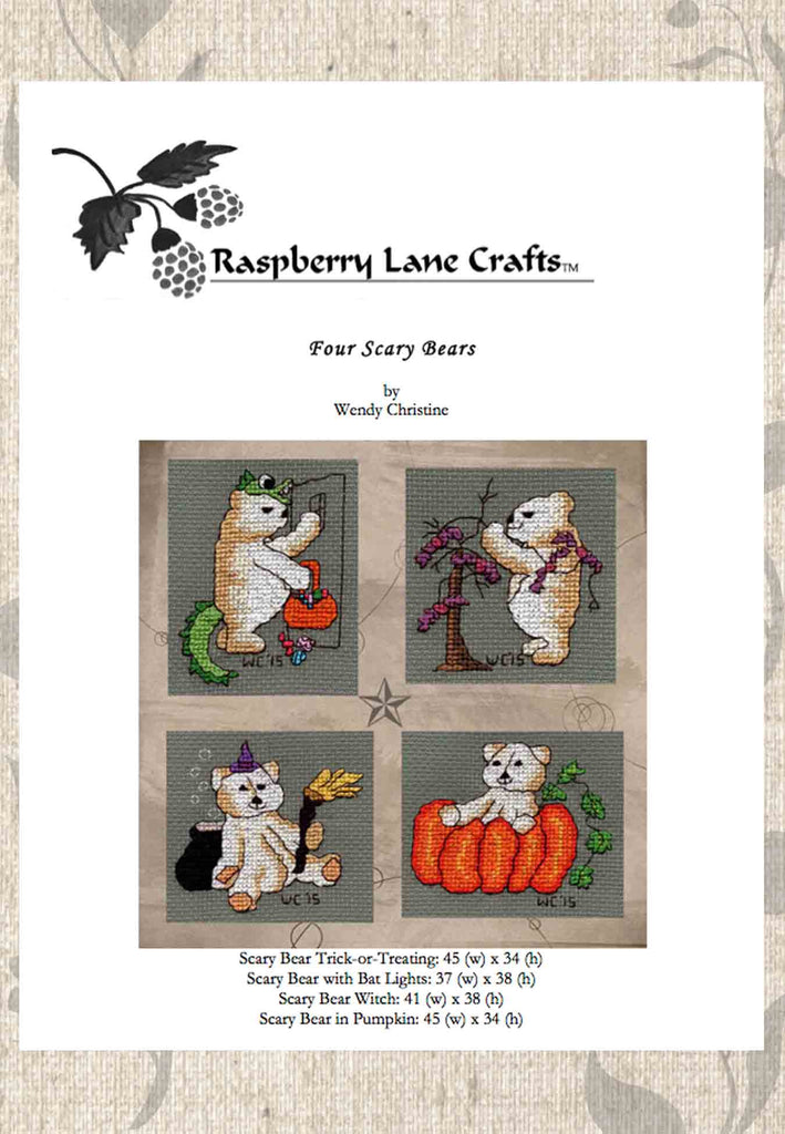 Buy Halloween Teddy Bear cross stitch pattern at Raspberry Lane Crafts Digital Download
