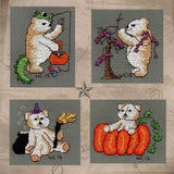 Four Scary Bears Cross Stitch Pattern by Wendy Christine at Raspberry Lane Crafts includes scary bear trick-or-treating, with bat lights, witch, and pumpkin.