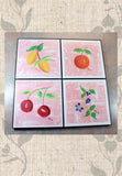 Fruit Jubilee Framed Art Set of Four for Sale Fruit on Pink by The Art of Wendy Christine