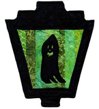 Black ghost silhouette on green stripes lantern gaslight Halloween sewing quilt pattern buy at Raspberry Lane Crafts.