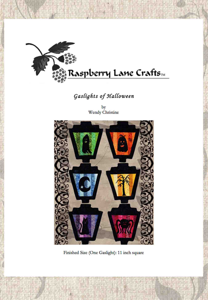 Gaslights of Halloween quilt pattern ghost moon pumpkin tree spider cat for sale at Raspberry Lane Crafts.  Find Buy Purchase