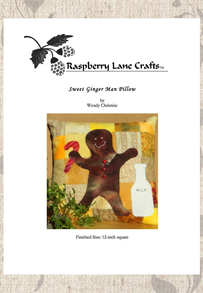 Buy Gingerbread Man Pillow Pattern for Christmas Holidays for Sale at Raspberry Lane Crafts