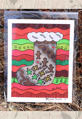 Gingerbread Stocking Signed Print