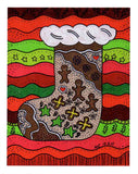 """Gingerbread Stocking"" print by Wendy Christine is a gingerbread cookie decorated stocking with waves of Christmas red and green background."